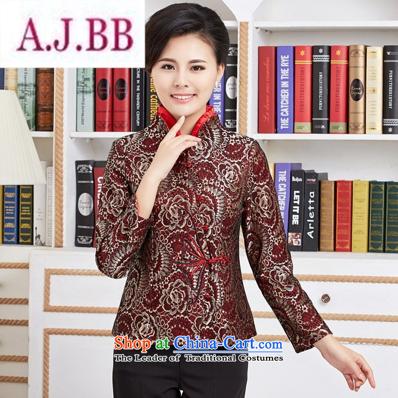Ms Rebecca Pun and fashion boutiques, Ms. Tang blouses female long-sleeve sweater with Spring and Autumn Chinese improved national dress mother red燣