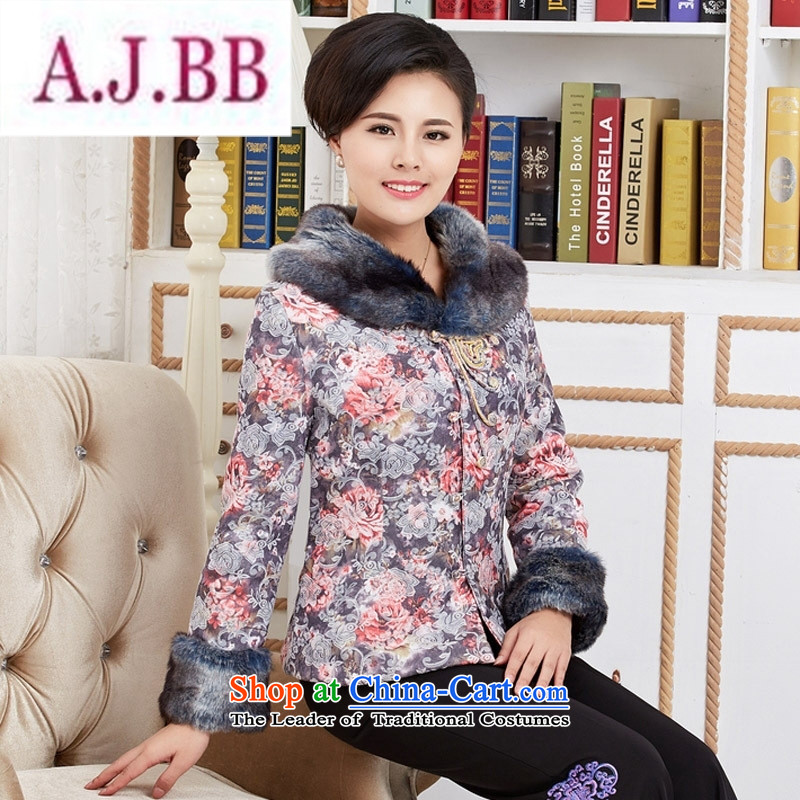 Ms Rebecca Pun stylish shops women Fall_Winter Collections in cotton coat older Tang dynasty 茫镁貌芒 robe mother with T-shirt style classical gray聽M