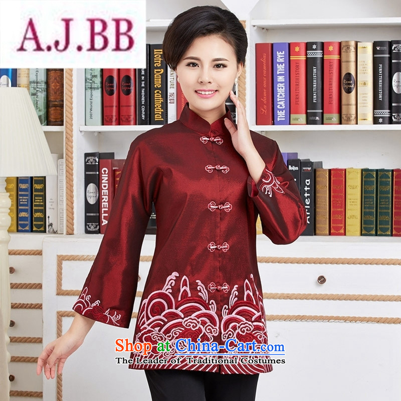 Ms Rebecca Pun and fashion boutiques, Tang blouses. Long load during the spring and autumn wind jacket Chinese improved national dress mother red燲XL