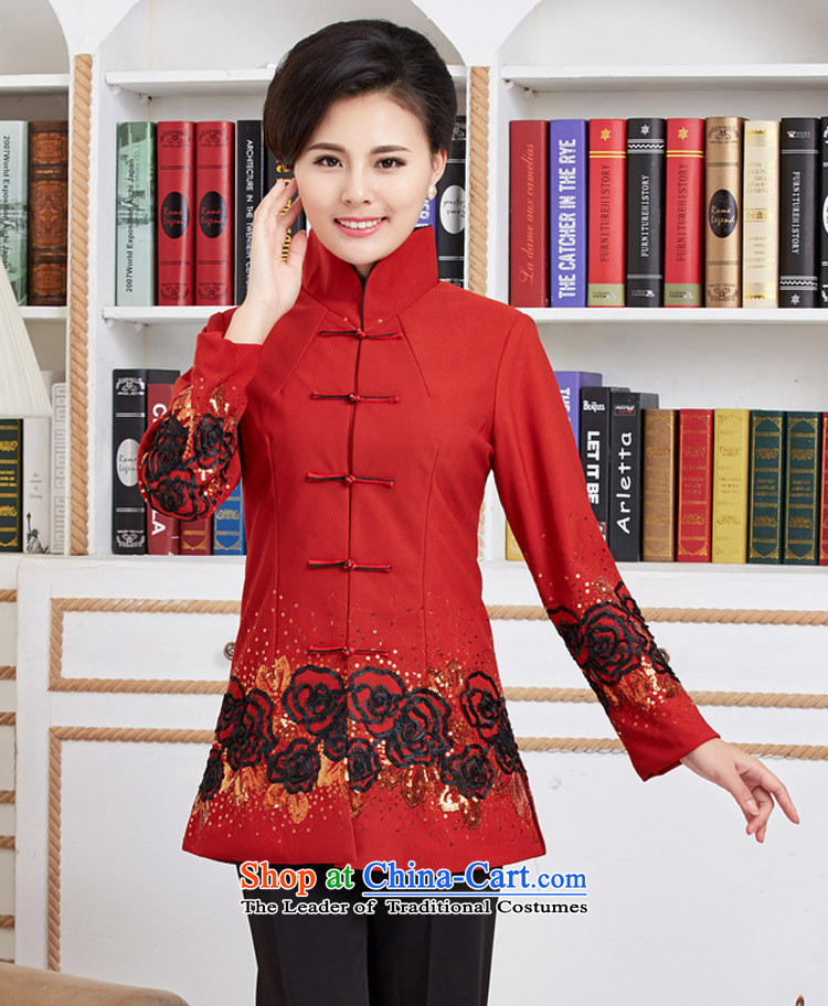 Ms Rebecca Pun and fashion boutiques, Ms. Tang dynasty improved long-sleeved new spring loaded in the classical embroidery long red shirts聽L picture, prices, brand platters! The elections are supplied in the national character of distribution, so action, buy now enjoy more preferential! As soon as possible.