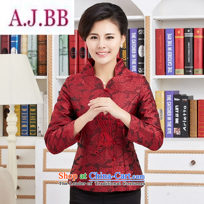 Ms Rebecca Pun and fashion boutiques, Ms. Tang dynasty new autumn wind long-sleeved blouses national mother in older women clothes red jacket embroidered燲XXL
