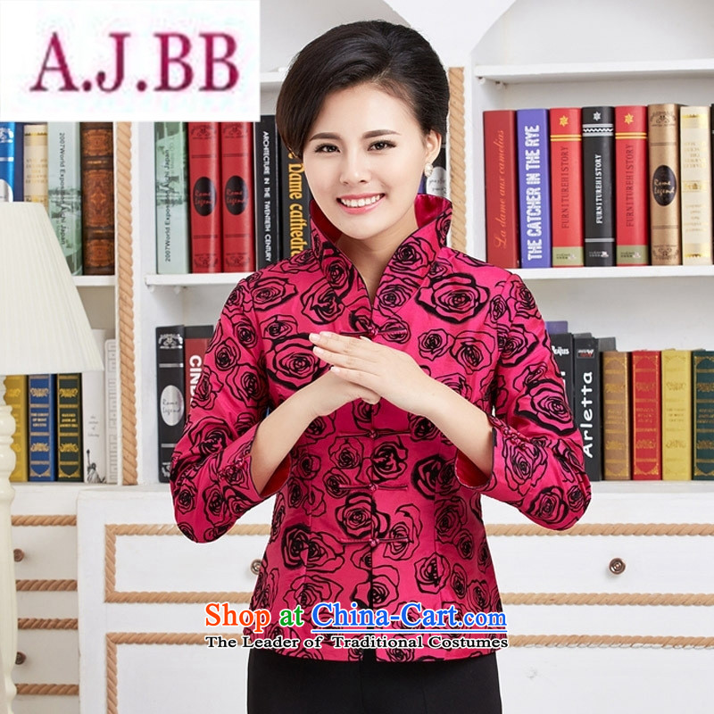 Ms Rebecca Pun stylish shops in old age for women during the spring and autumn MOM Pack Ms. Tang blouses wedding-dress birthday with Chinese improved retro jacket red聽XXL