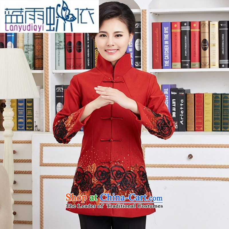 Ms. Ya-ting shop long-sleeved improved Tang dynasty new spring loaded in the classical embroidery long red shirts燲XL
