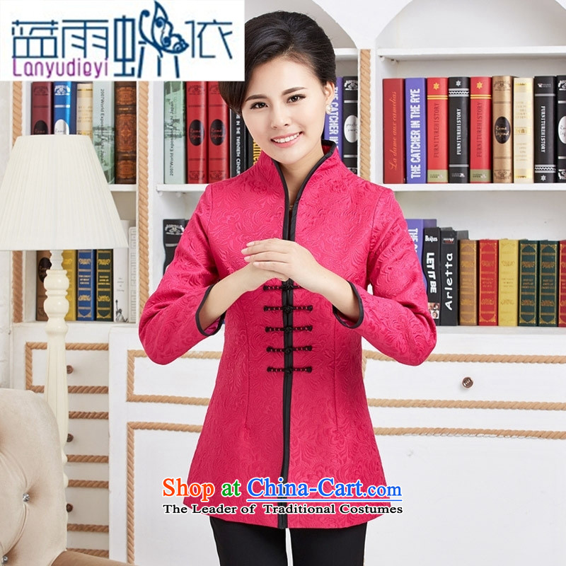 Ya-ting shop in Tang Dynasty windbreaker long spring and autumn in older women's clothes with her mother Chinese improved jacket red?L