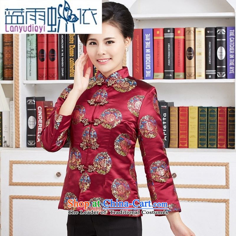 Ya-ting shop 2015 Autumn replacing winter clothing new products of older men and women and replace Tang dynasty birthday made old grandma couples Soo-jacket with red stripes燣