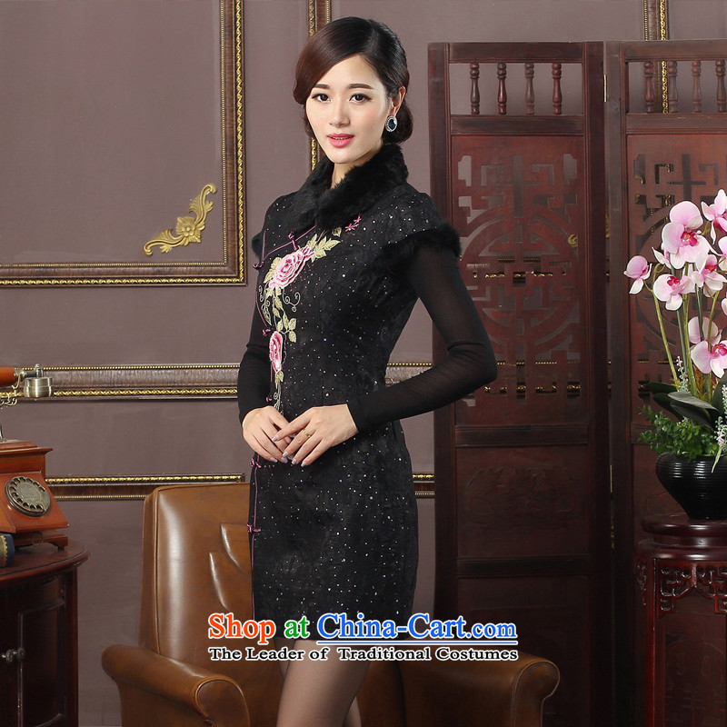 The aristocratic oriental 2015 new winter day-improved cheongsam dress flowers on the drawer units embroidery cheongsam�4616 Black燲L