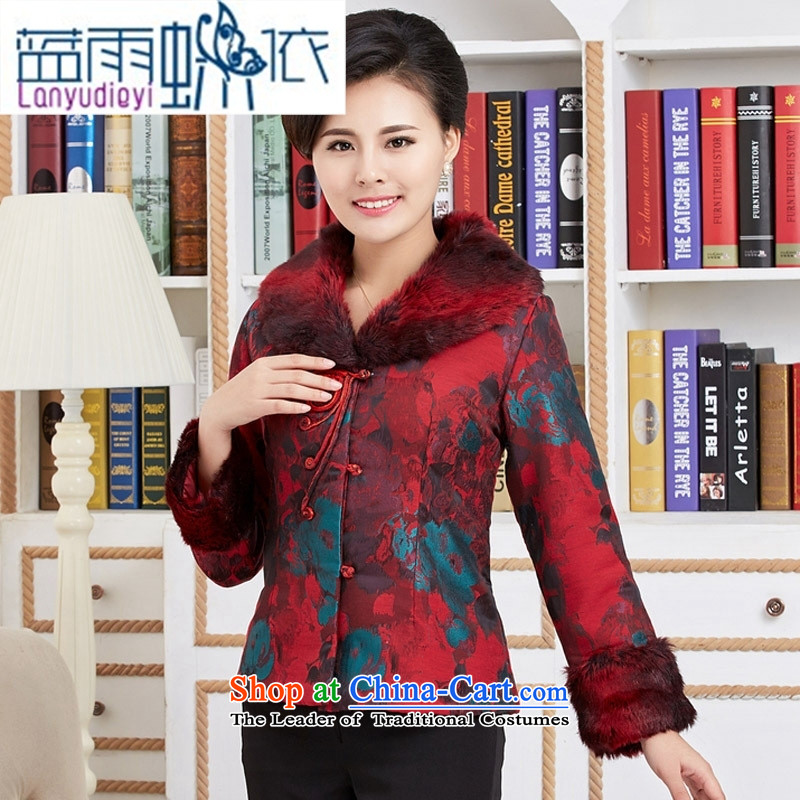 Shop 2015 cotton-Ya-ting female short_ Emulation mink collar autumn and winter clothes for older robe low female red jacket燲XL