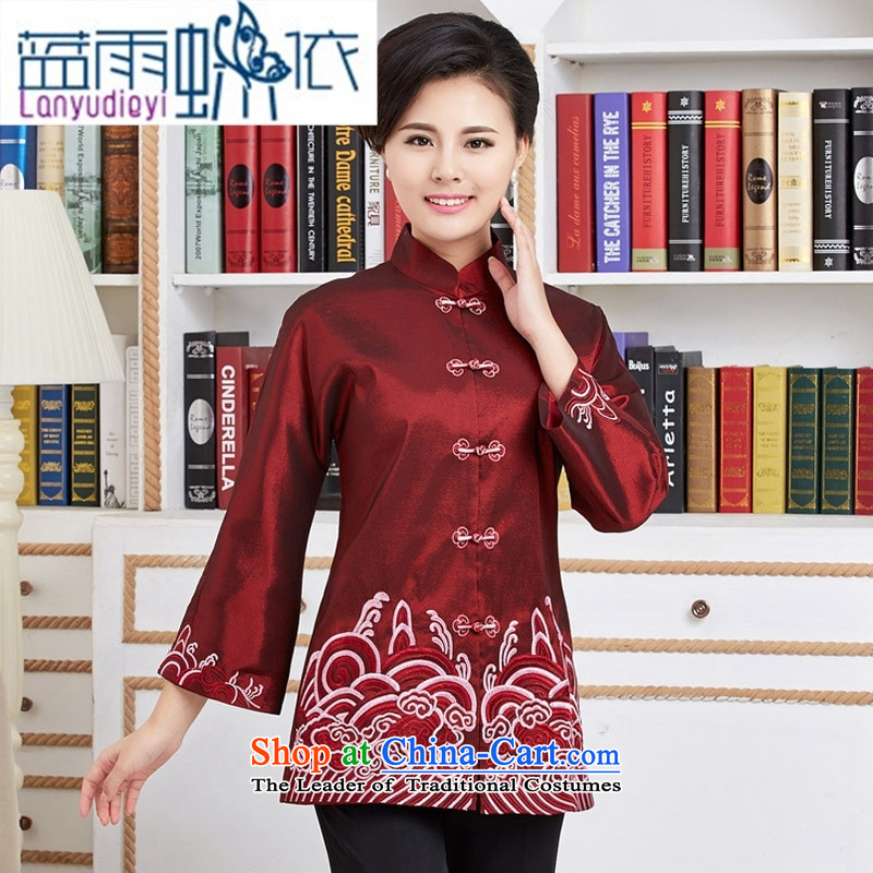 Ms. Ya-ting shop Tang blouses. Long load during the spring and autumn wind jacket Chinese improved national dress mother red?XXL