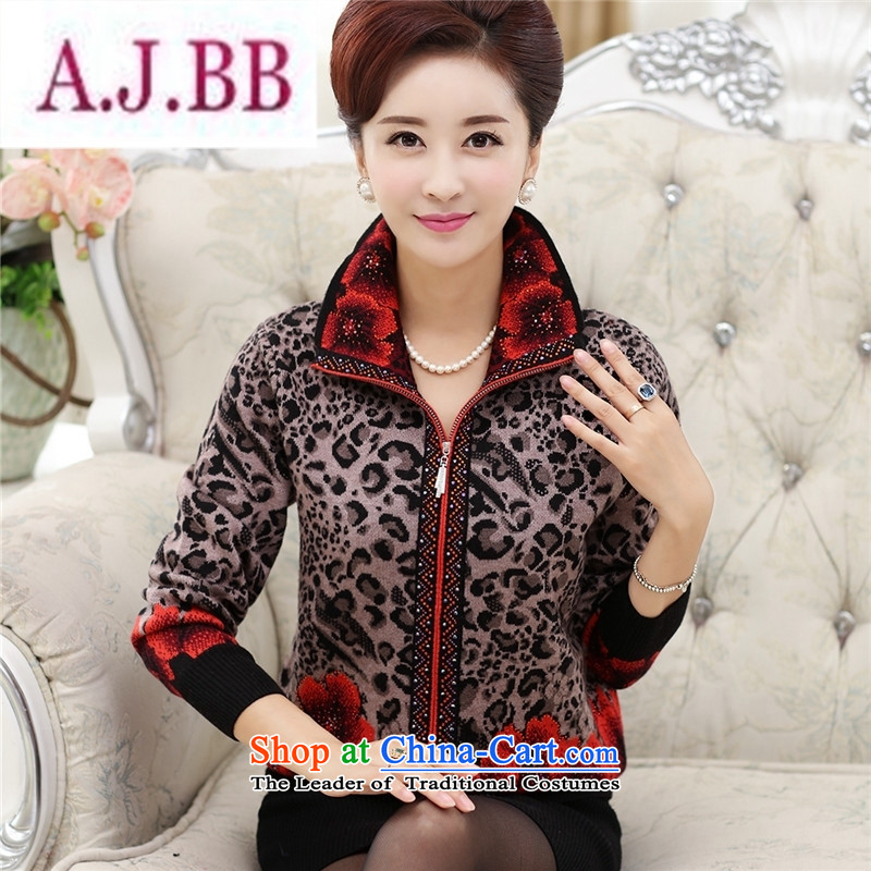 Ms Rebecca Pun stylish shops in the autumn of older women wear jackets knitwear cardigan middle-aged women aged 40-50 T-shirt with older persons in the mother red燣
