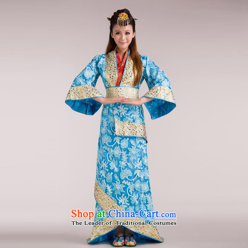 The Syrian goddess clothing ancient time with fairies Han-han-Tang dynasty princess services stage costumes fairies replacing your clothes will start with the light blue photo building are suitable for 160-175cm code