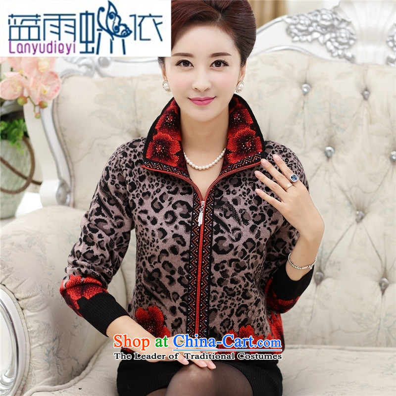 Ya-ting shop in older women's autumn jackets knitwear cardigan middle-aged women aged 40-50 T-shirt with older persons in the mother red燣