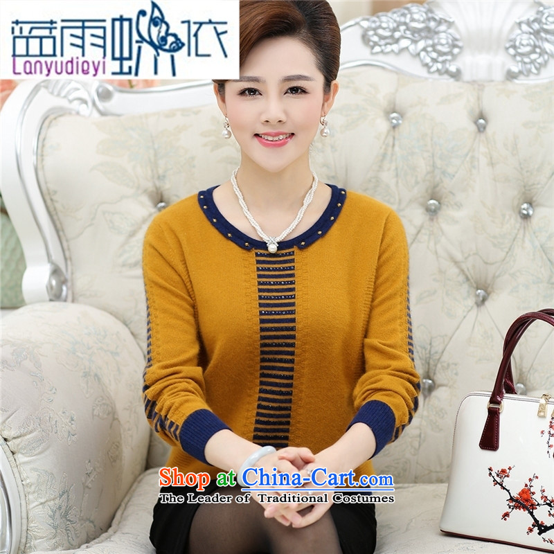 Ya-ting shop in older women wear loose large long-sleeved middle-aged women Knitted Shirt with load autumn tiao mother fleece clothing knitwear Yellow燲L