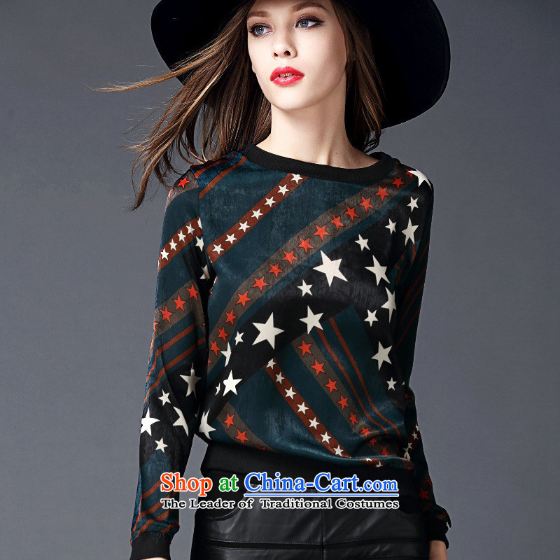 The main European site with new autumn 2015 Western big star stamp long-sleeved T-shirt, forming the video thin wild green T-shirt�M