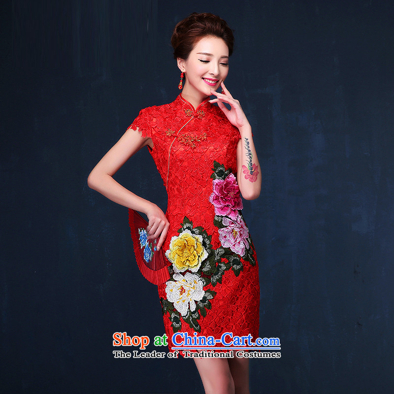 Time Syrian brides qipao 2015 new marriage services fall short of the bows red lace retro improved Chinese qipao gown video thin燲XL