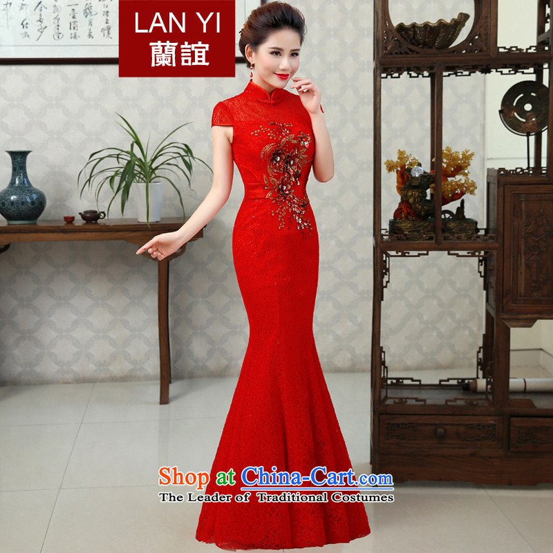 In�15 the new Marriage friends qipao gown lace Bridal Services Improved retro bows crowsfoot Sau San long evening dress燾ode RED M 2 feet waist