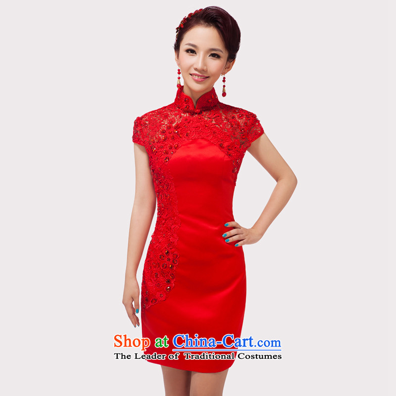 Time the爊ew autumn 2015 Syria bridal dresses qipao marriage bows services red collar embroidery short of Chinese Dress RED燤
