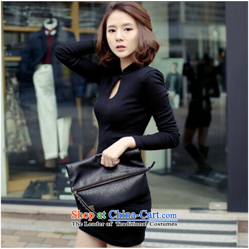 Autumn and winter new graphics package and Sau San thin and sexy long-sleeved black skirt wear qipao black?S