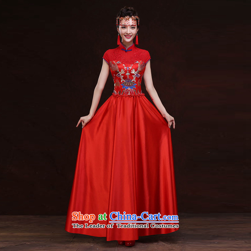 Syria cheongsam dress 2015 Hour New Service Bridal Fashion toasting champagne Autumn Chinese marriage red improved cheongsam long Sau San Red�L