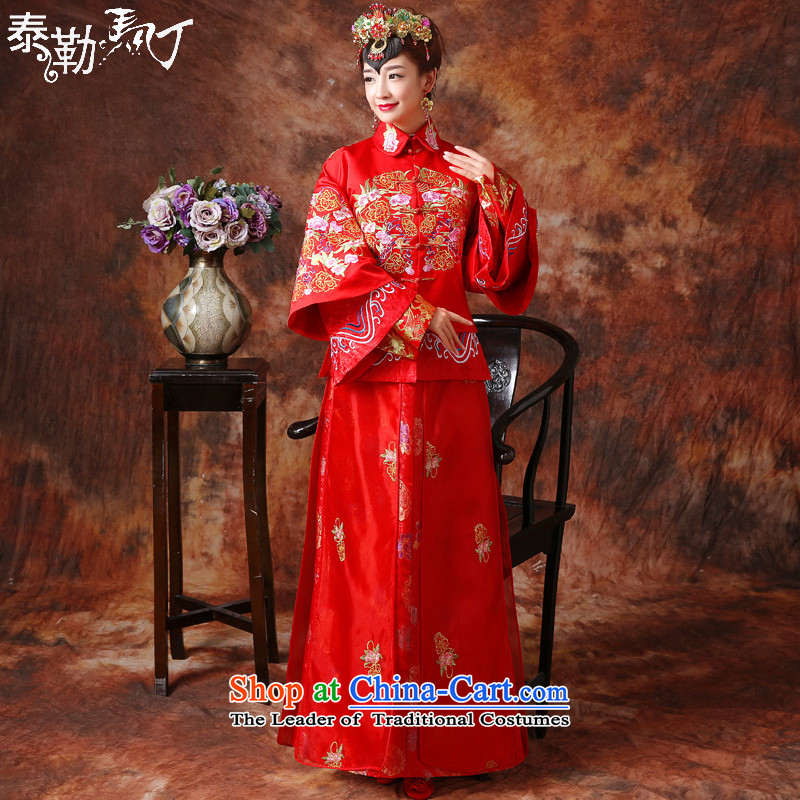 Martin Taylor autumn and winter New Sau Wo Service bridal dresses toasting champagne Chinese style wedding services retro fitted cheongsam embroidery dragon use the wedding dress RED M