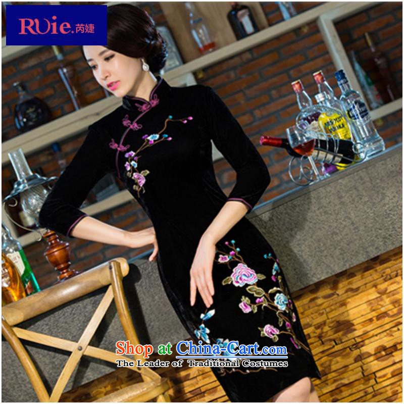 And related shop _2015 autumn and winter new moms with scouring pads in the skirt qipao Kim sleeve length_ Improved retro wedding燲XXL black