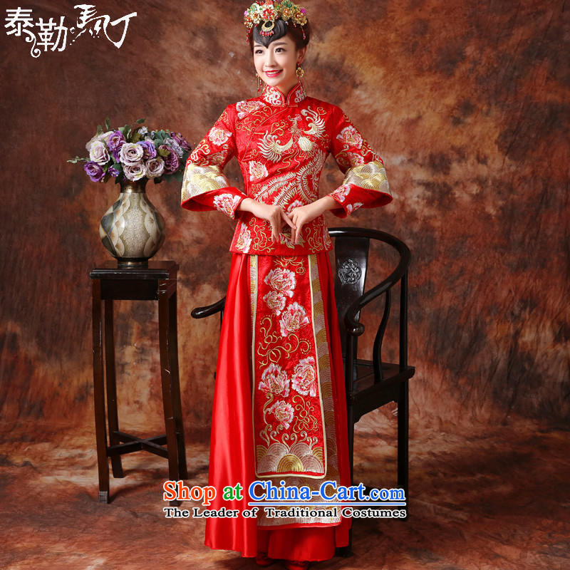 Martin Taylor new embroidery Soo Wo Service bridal dresses red Chinese dragon serving drink use marriage-hi-autumn and winter long cheongsam with small light industrial燤