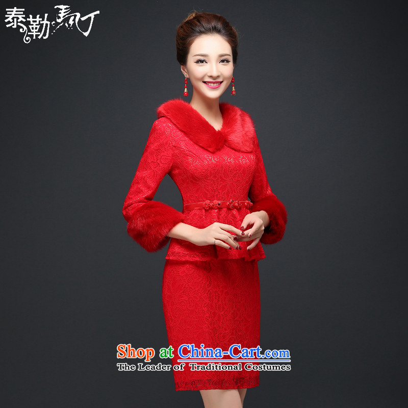 Martin Taylor autumn and winter new red lace qipao short of marriages bows to dress video thin cheongsam dress temperament female red燬