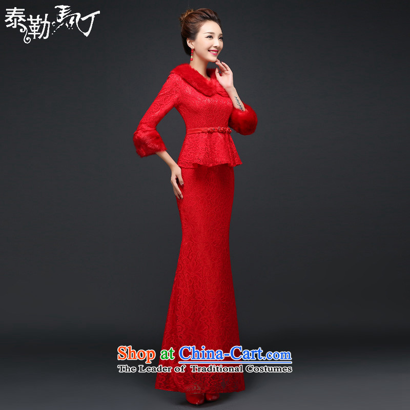 Martin Taylor new autumn and winter red qipao Foutune of Sau San crowsfoot bride wedding dresses long serving drink Chinese cheongsam dress_ Red燬