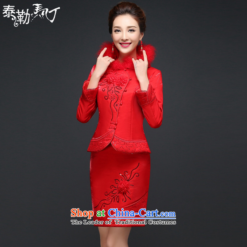 Martin Taylor new autumn and winter cheongsam dress red bride bows service wedding dress Sau San thick warm long-sleeved qipao kit red XXL