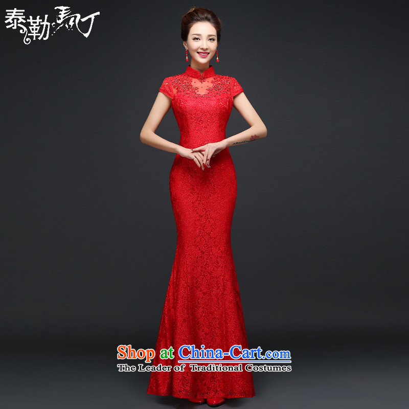 Martin Taylor New Red bride wedding dress qipao Chinese bows services lace Sau San crowsfoot long cheongsam dress female red燣
