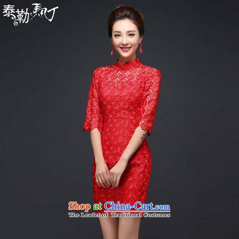 Martin Taylor new red lace bridal dresses short of bows service packages and cheongsam dress Sau San back door wedding dress autumn and winter red燬