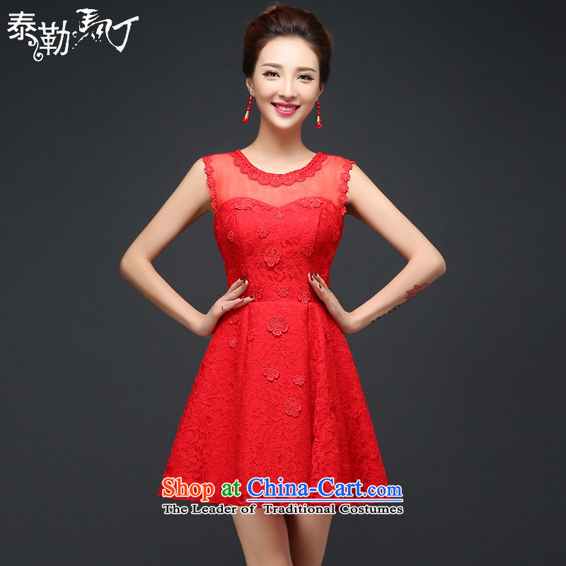 Martin Taylor bride bows services bridesmaid dress red video thin short of Sau San cheongsam dress marriage banquet small Female dress red燲XL