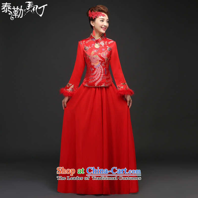 Martin Taylor new bride Chinese wedding dress improved long-sleeved red bows services folder qipao cotton winter cheongsam dress Sau Wo Service RED燤