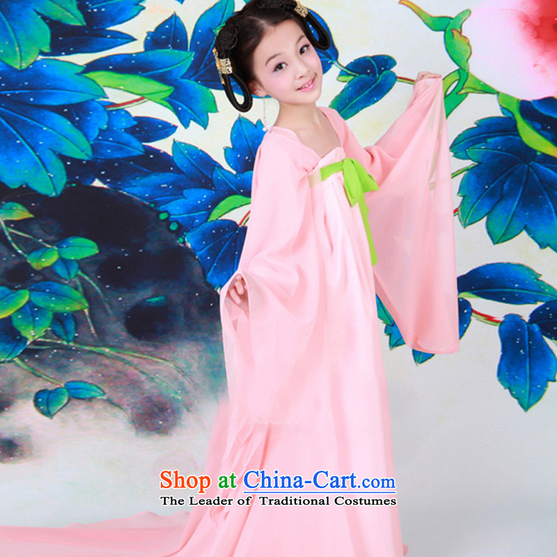 The Syrian Arab Republic Syrian children Time Hour costume fairies replacing Tang dynasty girls tail Little Princess Gwi-loaded pink Tang Dynasty Show guzheng children photography clothing pink聽110CM,