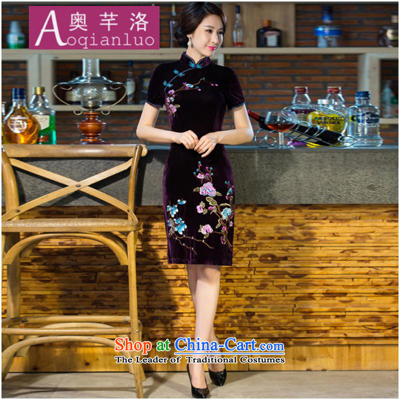 The Constitution of 2015 Fall/Winter Collections Of new women's large wedding dresses improvement of nostalgia for the evening dresses cheongsam dress temperament female XXXL Purple