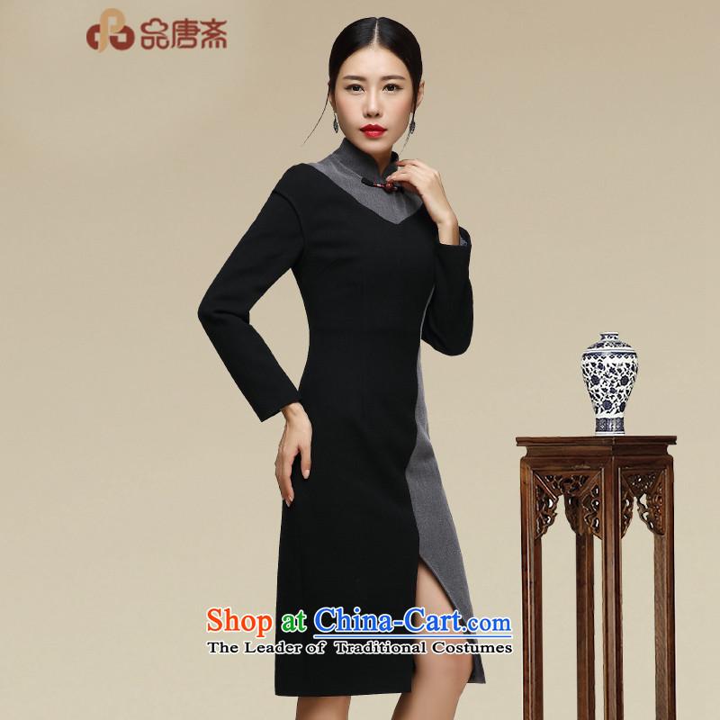 No. of autumn and winter qipao Tang Ramadan 2015 Ms. new long-sleeved retro cheongsam dress map colorM