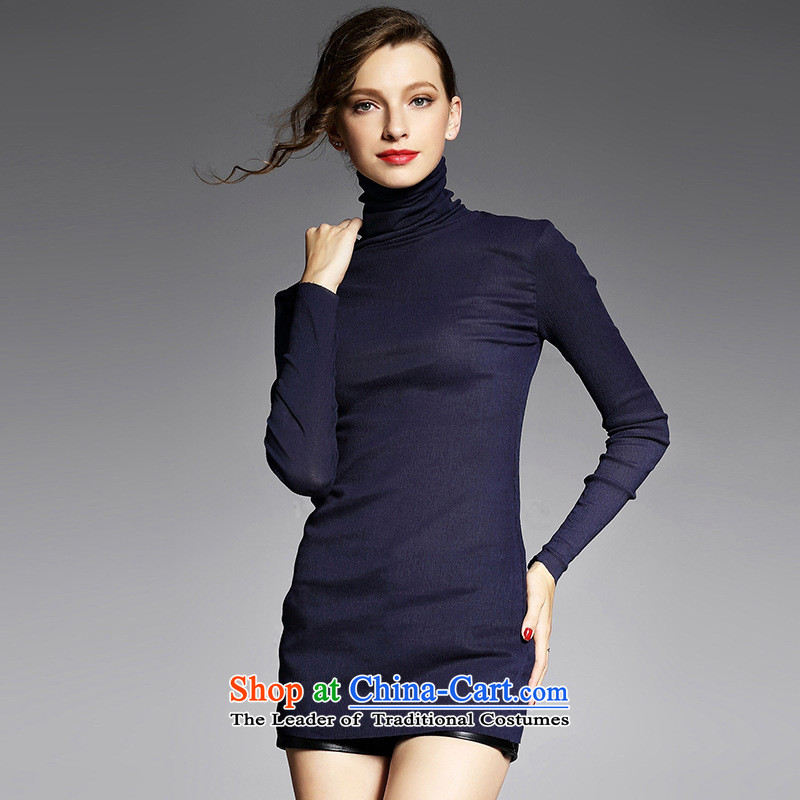 The main European station 2015 Autumn new for women wear shirts high collar long-sleeved T-shirt YN11031 hem Pressure Sau San Dark Blue燤