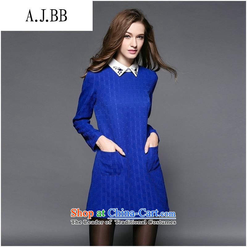 Secretary for Europe and the 2015 involving shops * autumn new pure color temperament large long-sleeved blue skirt?XL