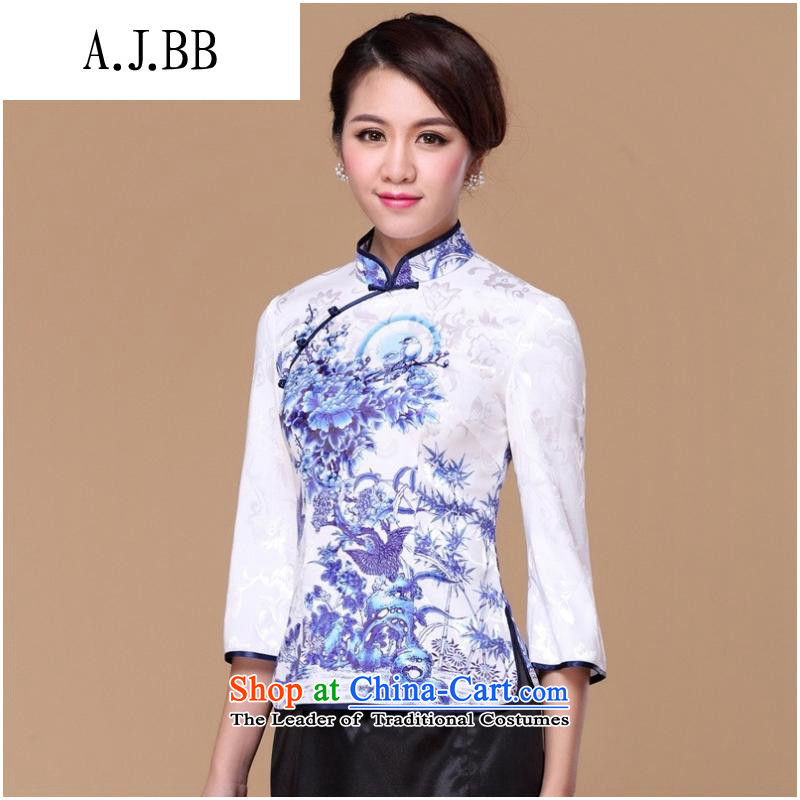 The Secretary for Health related shops spring and summer _ Tang blouses Women's Summer porcelain retro-clip qipao shirt improved stylish Sau San Xia long-sleeved聽XL