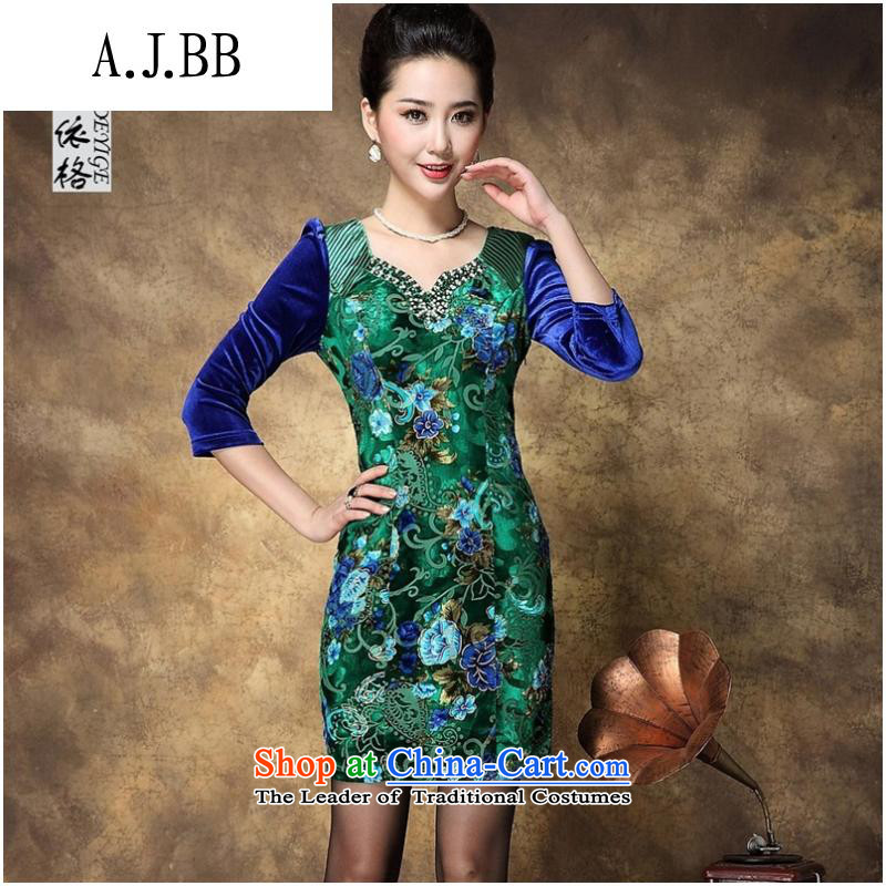 _ The autumn shops and involve women's new larger stores scouring pads long-sleeved dresses picture color燤