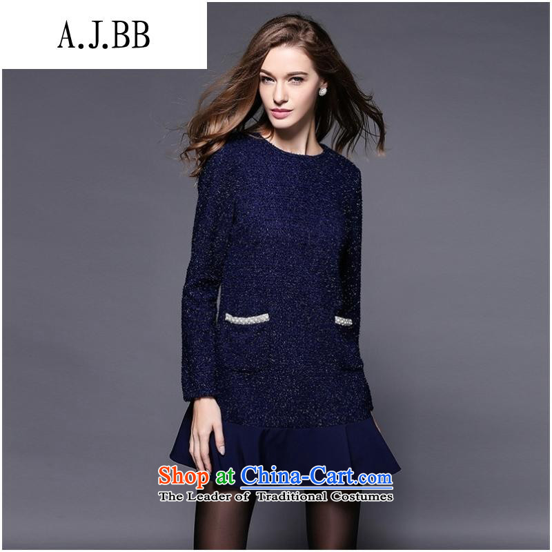 Secretary for Europe and the 2015 involving shops _ Install New Field autumn graphics thin large long-sleeved round-neck collar relaxd dress blue燲L
