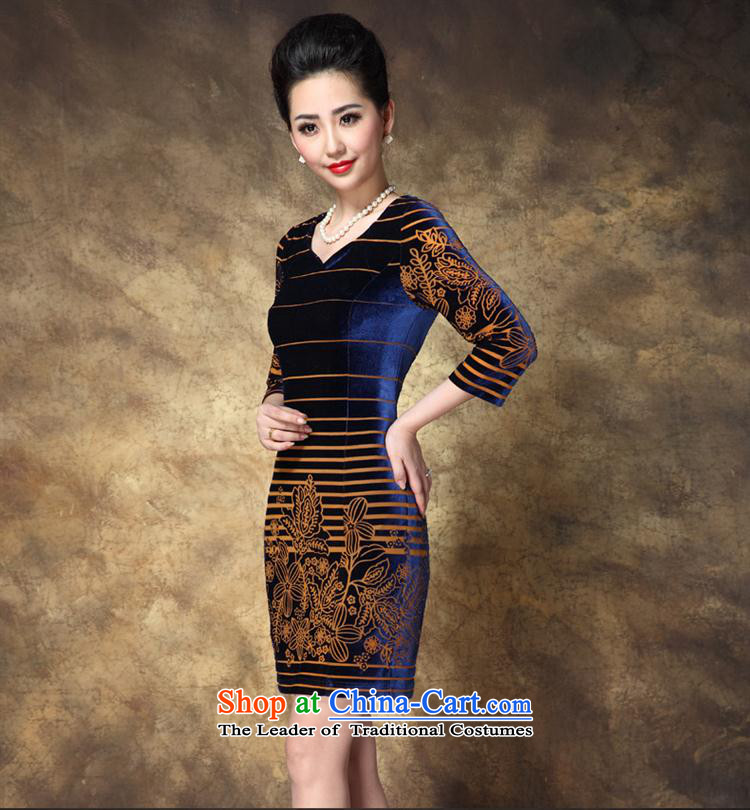 * The autumn shops and involve new for women larger OL Kim long-sleeved blue velvet聽XXXL picture, prices, brand platters! The elections are supplied in the national character of distribution, so action, buy now enjoy more preferential! As soon as possible.
