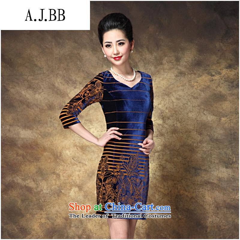 * The autumn shops and involve new for women larger OL Kim long-sleeved blue velvet聽XXXL,A.J.BB,,, shopping on the Internet