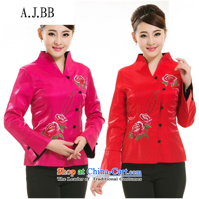 The Secretary for Health related shops _ teahouse workwear autumn and winter clothing replacing Tang dynasty teahouse long-sleeved clothing uniform thick red聽L