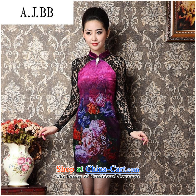 Secretary for middle-aged moms clothes shops involved _ new stamp scouring pads package and a mock-neck Sau San long-sleeved qipao picture color燤