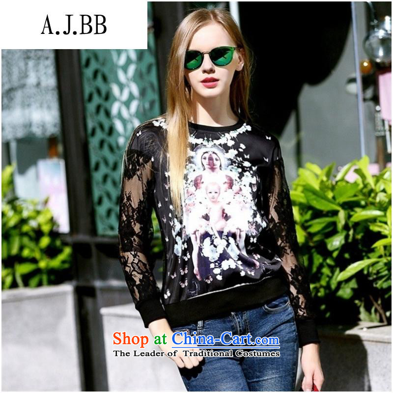 And involved shops new autumn _2015 for women in Europe sweater round-neck collar engraving gauze long-sleeved shirt black燤