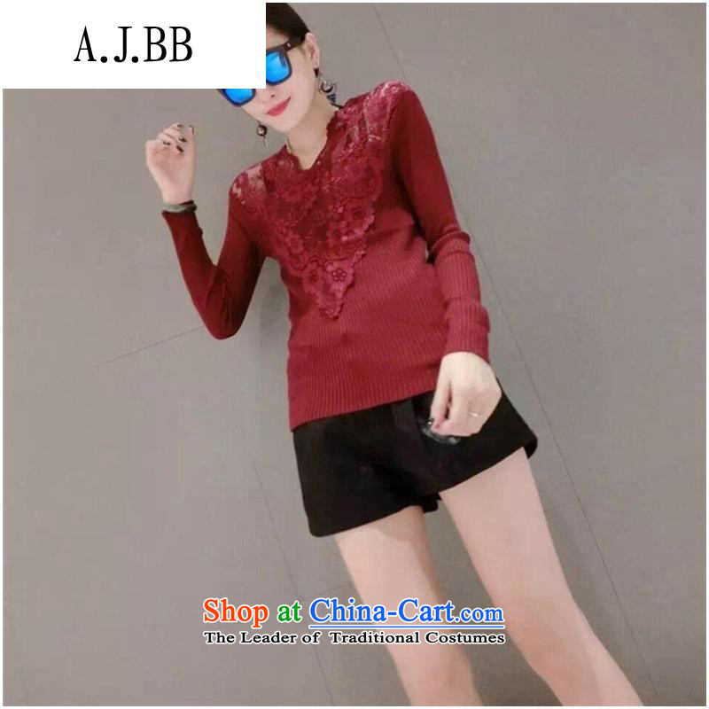 Secretary for Korean clothing shops involved _ WOMEN FALL 2015 new products v-neck long-sleeved small fluoroscopy lace spell checker shirt Knitted Shirt black are code