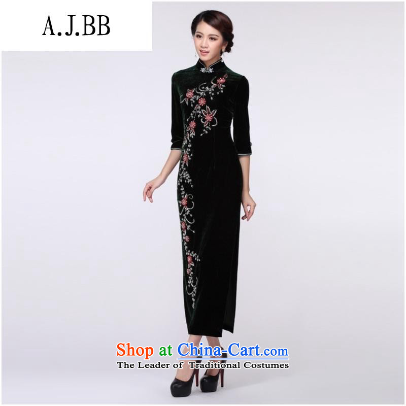 The Secretary for Health related shops _ Staple Pearl genuine gold cheongsam scouring pads stunning banquet in short long qipao improved dress long short-sleeved燲XL