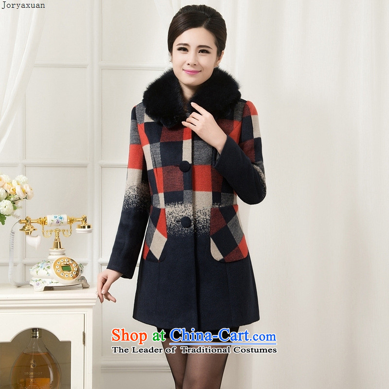Web soft clothes for autumn and winter by new moms with gross butted older Korea?   for gross grid version a wool coat for green燲XXL gross