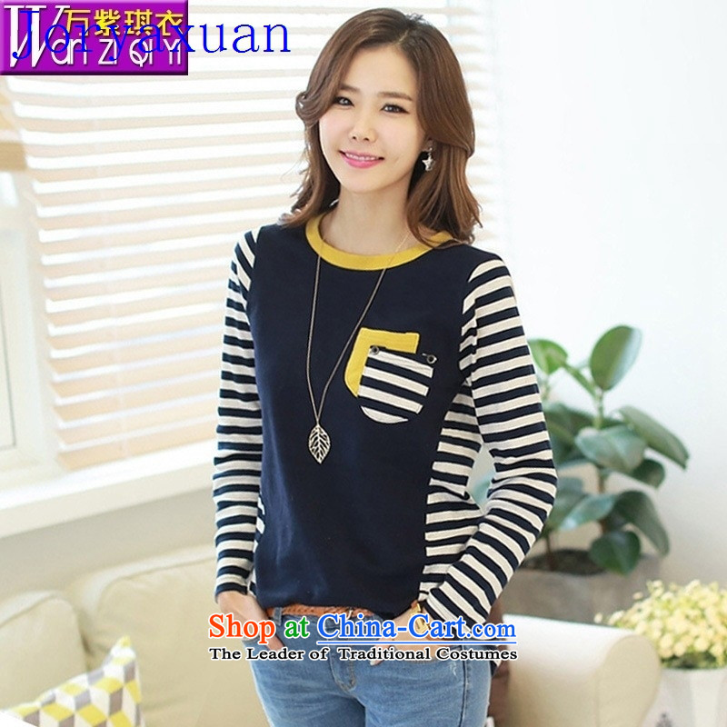 Deloitte Touche Tohmatsu sunny autumn Load New Shop Korea leisure streaks knocked color stitching pure cotton long-sleeved blouses and large-T-shirt dark blue with dark blue�M