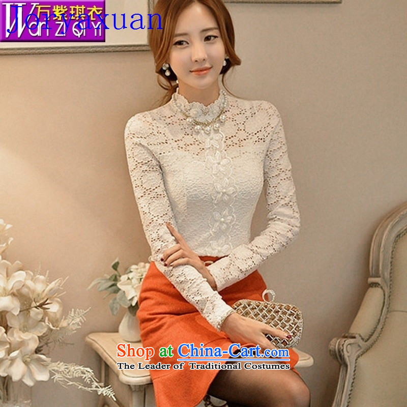 Deloitte Touche Tohmatsu trade shop European site fall new European and American women wear shirts lace manually set the Pearl River Delta engraving shirt lace White燲XL